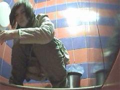 Voyeur films femmes pissing in public restroom