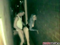 Bitch busted in an alley sex with her lover