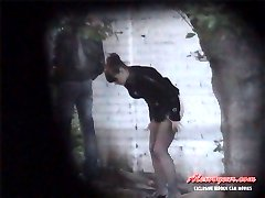 A blonde college girl is lifting her skirt down to piss unaware of alexvoyeur spy cam