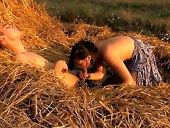 The soft hay makes a brilliant bed for these horny teenager lovers. They don`t have any privacy anywhere else, so this farmer`s field becomes their guest room.