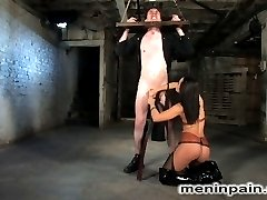 Our newest PA is not working out so well, so we ask Sandra to come help train him.  After teaching him the proper use of a broom, she introduces him to our collection of dildos, restraints and whips.  Beaten, ass fucked and humiliated, the PA gets a chance to actually fuck the beautiful Mistress, if he can perform to her standards.