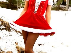 Maria F teases her way out of the gorgeous Christmas sundress.