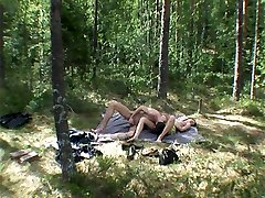 Hot teen female gets fucked in the woods