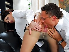 Lusty sec in elegant hosepipe executing her fuckin' duties to the best advantage