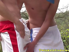 Cocksucking twunk jocks in shorts jerking off