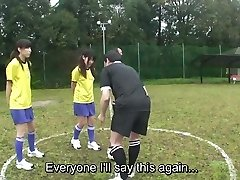 Subtitled ENF CMNF Asian naturist soccer penalty game HD