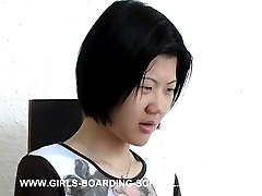 Asian beauty caned and spanked on her big fat ass