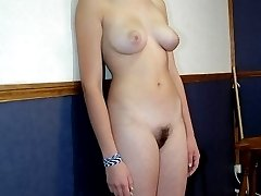 Hot little cutie displays her whipped ass - striped pink buttocks