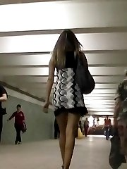 Sweet office lady seducing up skirt