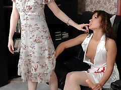 Hot nurse slipping under the skirt of mature stunner aching to taste ripe twat