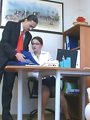 Seductive secretary in glossy pantyhose wants her boss to be happy for sure