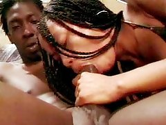 Fuck-a-thon hungering dark-hued chick with braided hair fucks on top of her man.