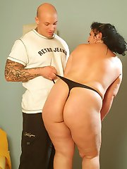Beautiful fatty Laszlone bends over so she could display her fat ass and suck off a huge dick