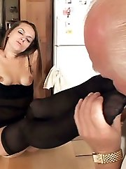 Melissa Julianna gets her stockinged soles pleasured and pussy eaten in this kinky video