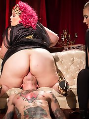 Divine Bitches is proud to introduce 2x AVN BBW performer of the year, April Flores! She shines as the ULTIMATE DIVINE goddess along side Mistress Mona Wales! In this surrealist femdom porn flick, every curve and every inch of her creamy white flesh is worshipped! Will Havoc bows down to her huge round ass which envelopes his face. Her magnificently mountainous tits deplete him of any and all oxygen. Her rich scented dripping cunt is made to be worshipped. Her puffy labia made to be sucked like a juicy peach. Goddess April Flores is the  embodiment of what every Divine Bitch strives to be. She is the archetype. Will Havoc begs to be penetrated by both goddesses at the same time until he sprays his load all over Goddess April's round belly and licks her clean!Hope you enjoy this pornographic femdom homage to David Lynch's Blue Velvet! Soundtrack sung and recorded by resident Divine Bitch, Mistress Mona Wales!