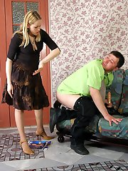 Curious next-door guy getting nailed by lascivious strap-on armed blondie