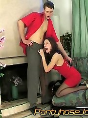 Sweltering chick gives great pantyhosejob before jumping on a hard sausage