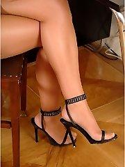 Secretary in white underpants and black stockings upskirt