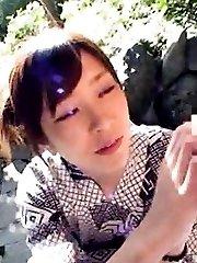 Japanese AV Model watches man masturbating OutdoorJp.com
