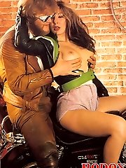 Seventies biker threesome