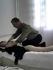 Young pussy bends over for old dick