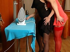 Cutie getting out of manage under inspecting mitts and tongue of mature gal