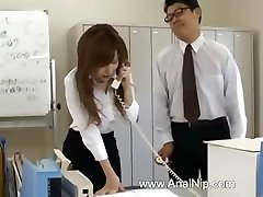 Asian assistant from Tokyo with bum milk