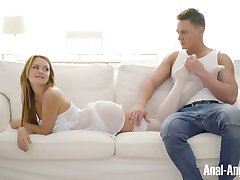 Sexy blonde in white stockings rents her ass for hardcore fucking
