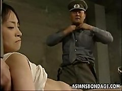 Japanese chick restrained down and stuffed with huge dicks