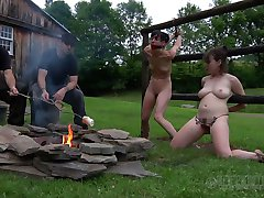 Skinny and chubby whores show off their charms to kinky dudes outdoors