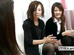 Subtitled CFNM real Japanese amateurs handjob seminar