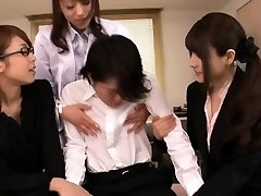 Japanese lingerie cougars sharing a youthful dude