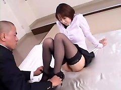 Pazzo ragazza Giapponese Misa Nishida Esotico, Cunnilingus, Calze JAV clip