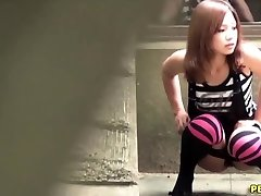 Japanese breezy urinate squats