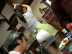 Mature fucking three way with Mirei Kayama in a mini miniskirt
