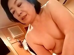 Asian granny give the handjob