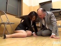 Asian Cougar ass groped in the office! her old chief wants some fresh pussy