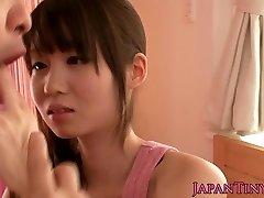Smallish asian pornstar Yumeno Aika jizz-swapping