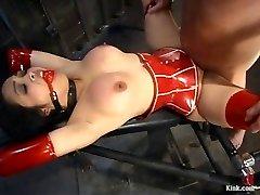 My red latex slave damsel