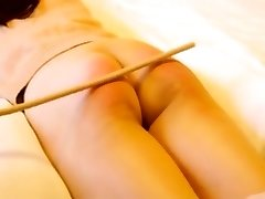 Chinese amateur caning with slave Niu