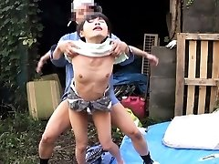 Cocksucking japanese outdoors in three-way fucked