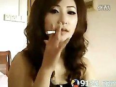 cute japanese chick smoking