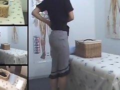 Cute Jap MILF fingered in voyeur massage apartment video