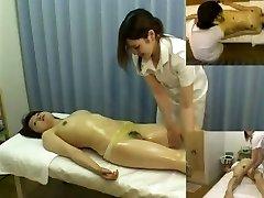Massage hidden camera films a dame giving handjob