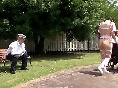 Subtitled bizarre Chinese half naked caregiver outdoors
