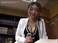 Asian secretary gives one of her coworkers a nice afternoon handjob