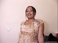 Chubby Asian unexperienced housewife gives a hot oral