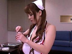 Chesty japanese nurses in medical threeway fun