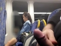 Chinese gal looking at my cock at the bus
