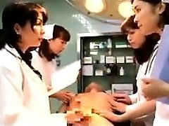 Obscene Japanese doctors putting their palms to work on a t